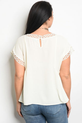 Royal Curves Sasha Lace Ivory Top