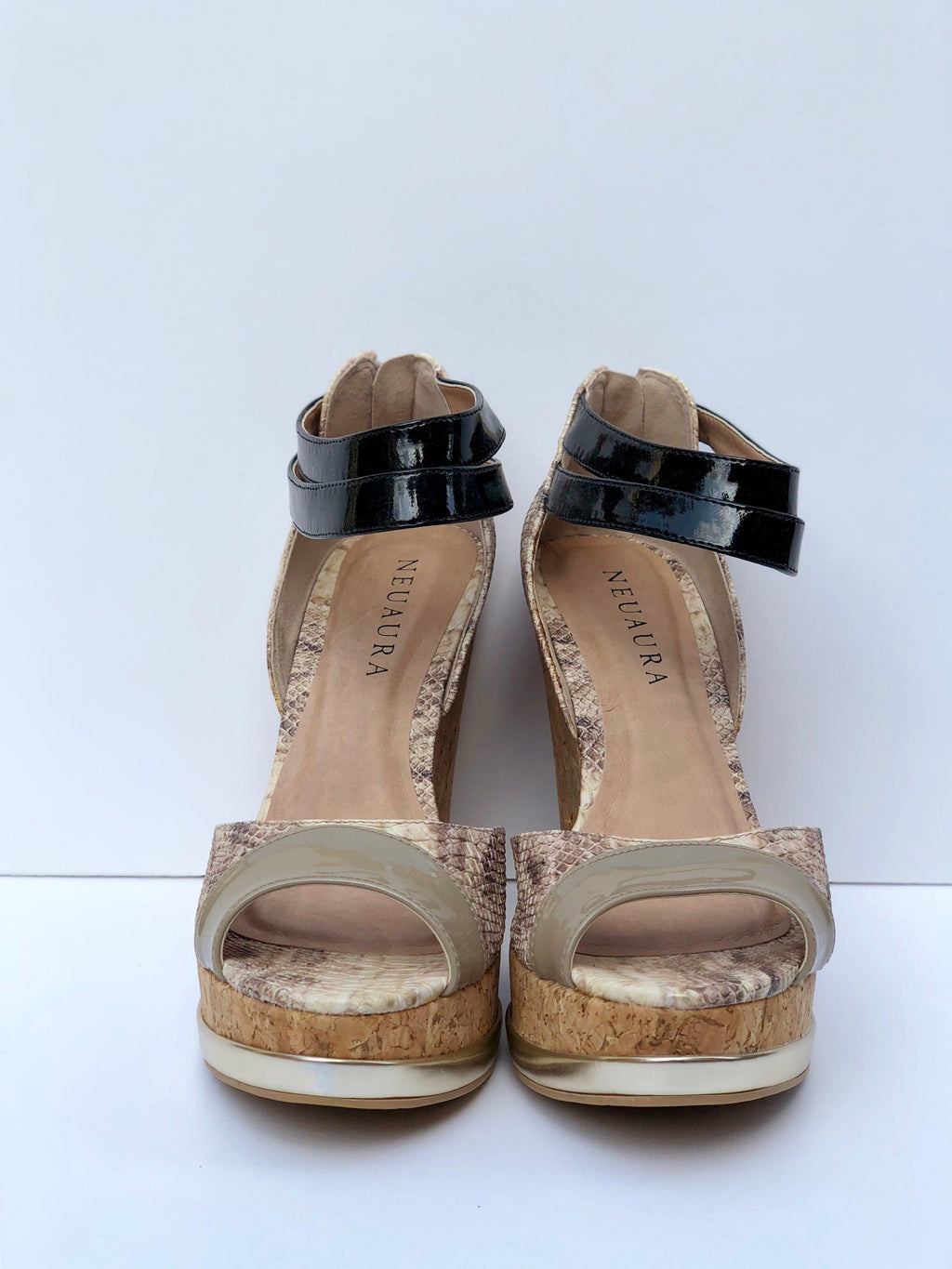 Black & Tan Neuaura Wedges - My Royal Closet
