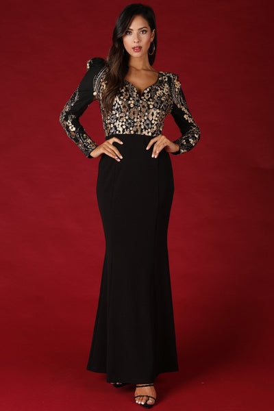 Pia Gold Sequin Gown - My Royal Closet