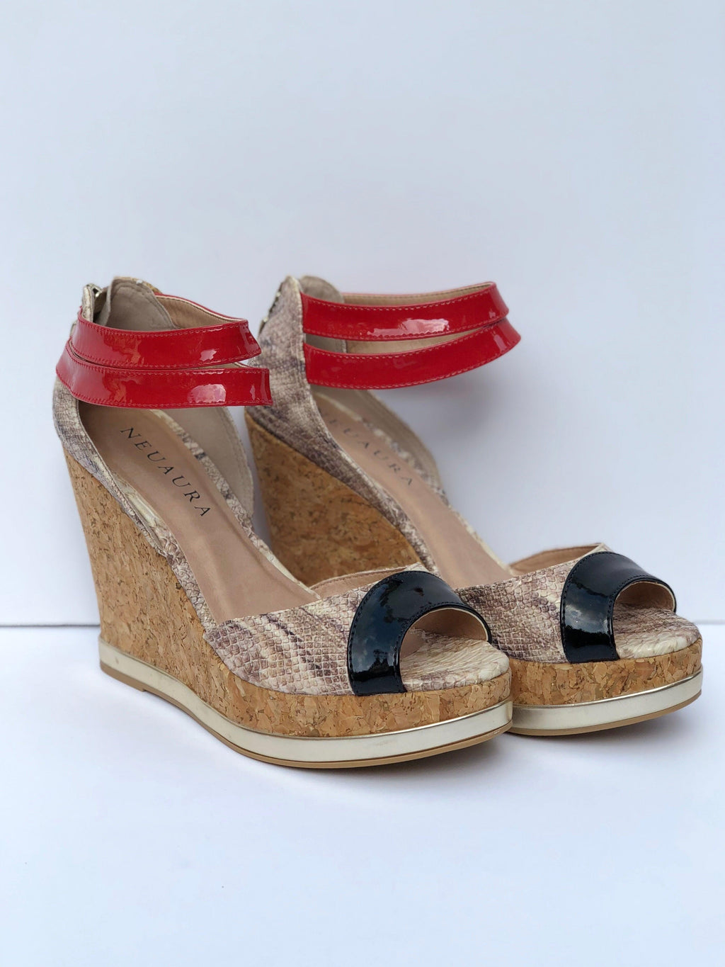 Black & Red Neuaura Wedges - My Royal Closet
