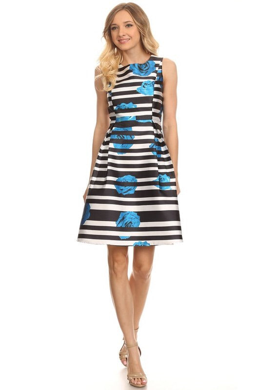 Paige Flowers and Stripes Midi - My Royal Closet
