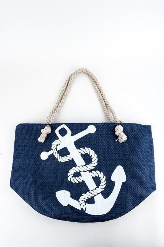 Navy Anchor Beach Tote - My Royal Closet