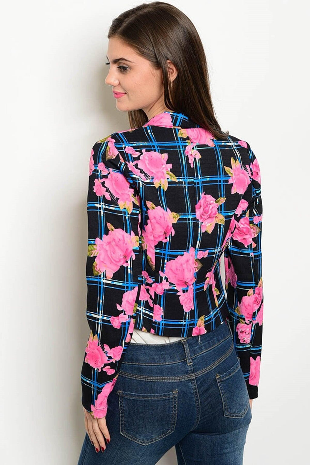 Hot Pink Floral Print Blazer - My Royal Closet