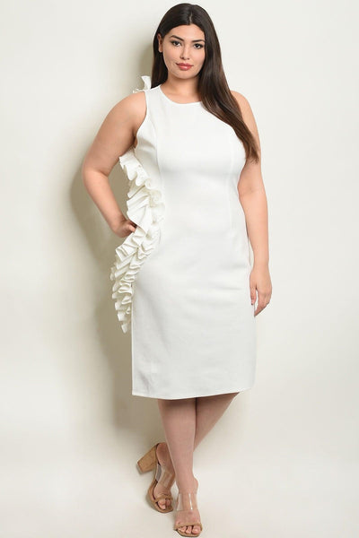 Royal Curves Bree Off-White Ruffled Midi - My Royal Closet