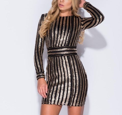 Black/Gold Sequin Mini