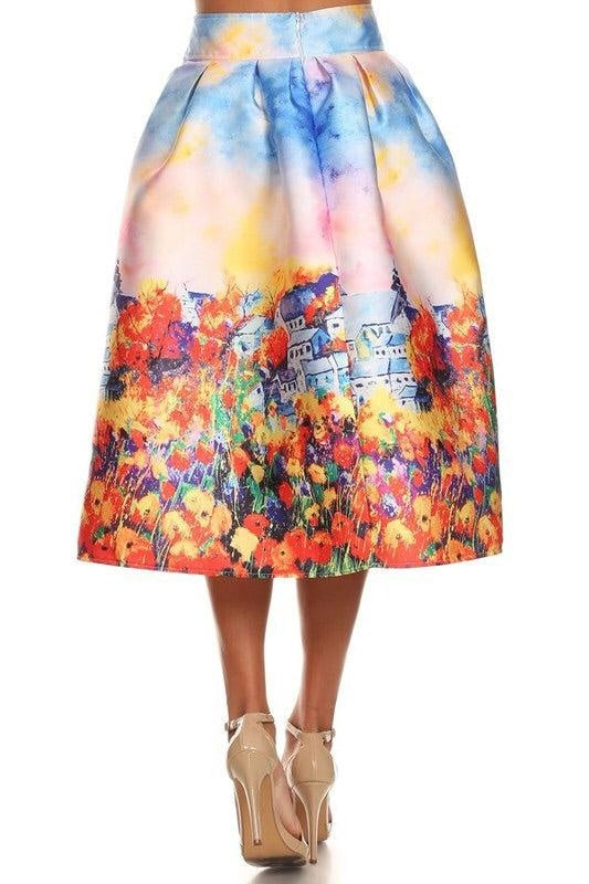 Floral Landscape Skirt - My Royal Closet