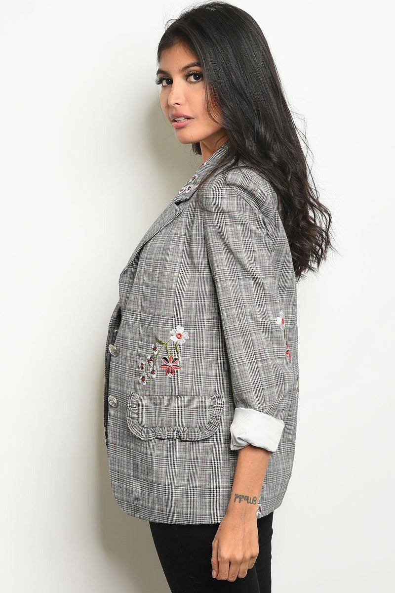 Plaid Floral Blazer - My Royal Closet