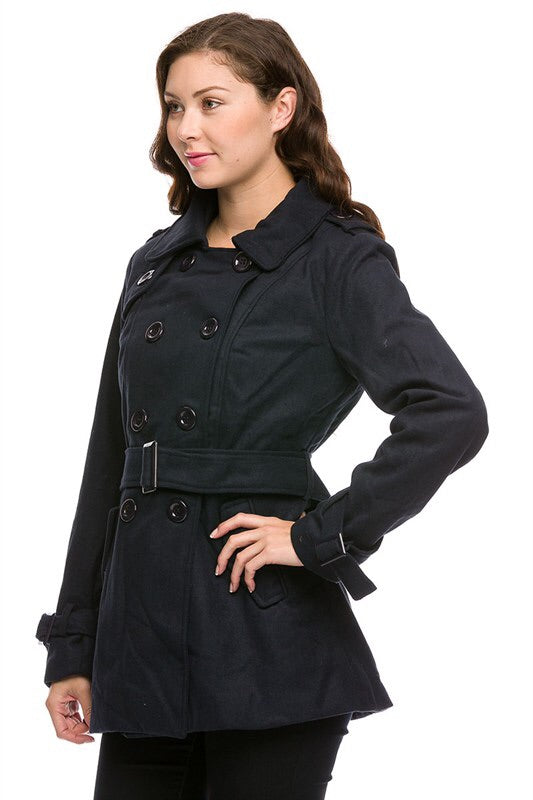 Royal Curves Black Peacoat - My Royal Closet