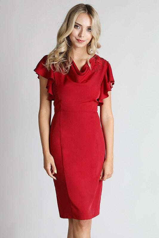 Charlotte Red Ruffles Midi - My Royal Closet