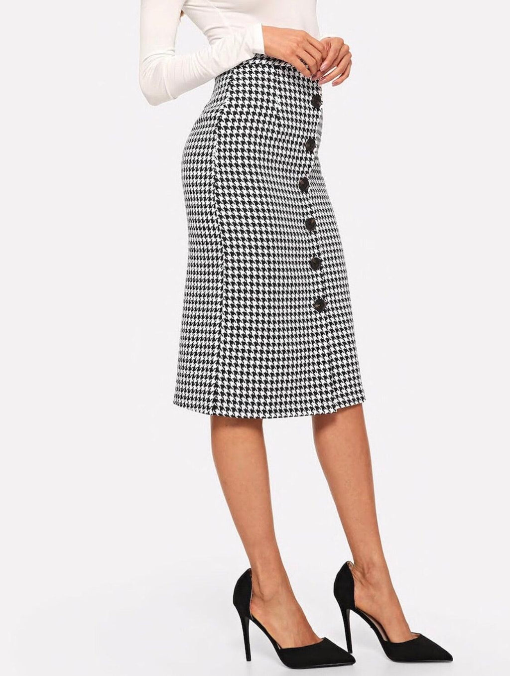 Houndstooth Button Midi - My Royal Closet