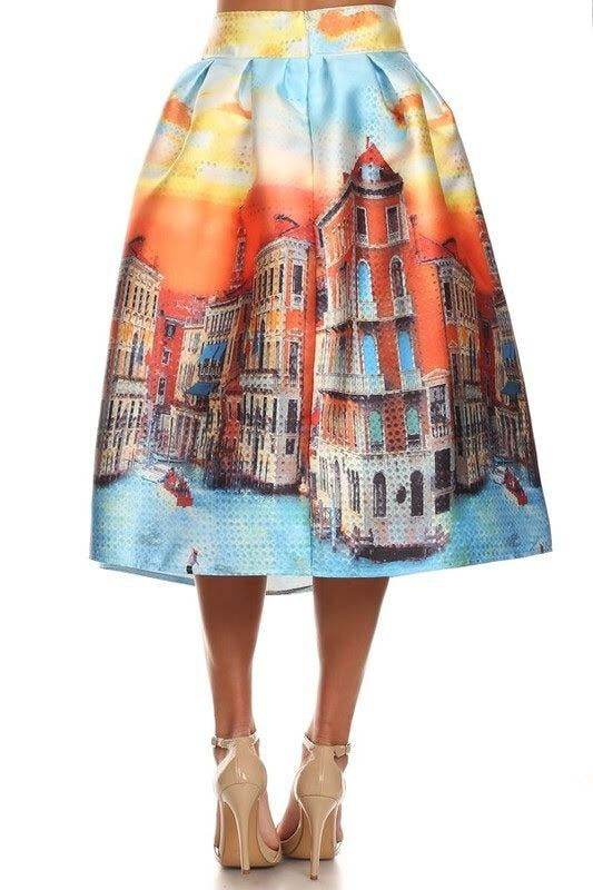 Venice Landscape Skirt - My Royal Closet