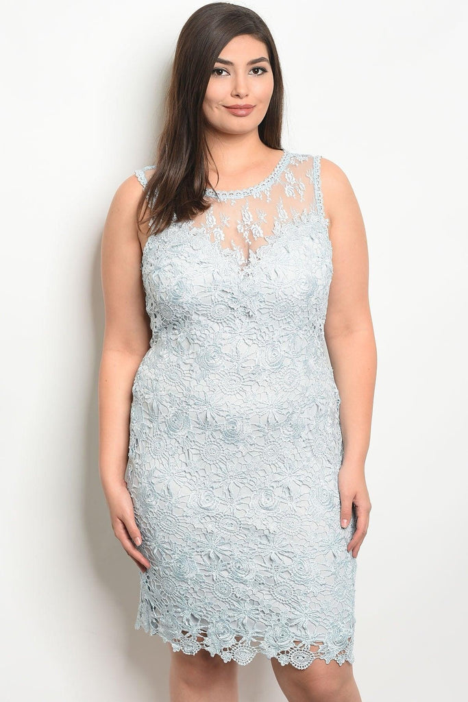 Royal Curves KayLee Lace Sky Blue Midi - My Royal Closet