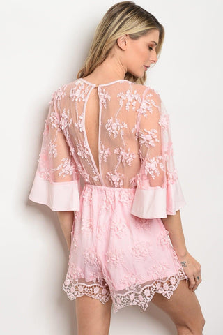 Willow Pink Lace Romper