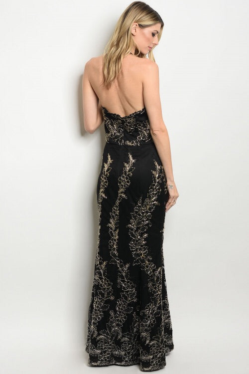 Gold Baroque Maxi Gown - My Royal Closet