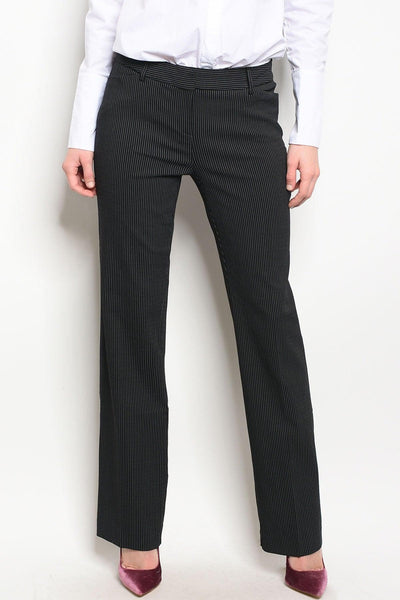 Royal Curves Pinstriped Black Slacks - My Royal Closet
