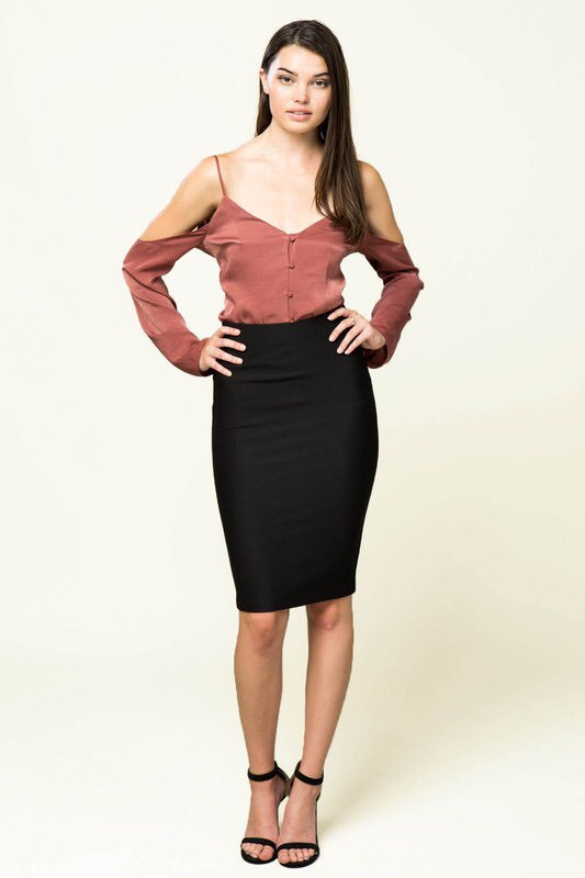 Black High Waist Midi - My Royal Closet