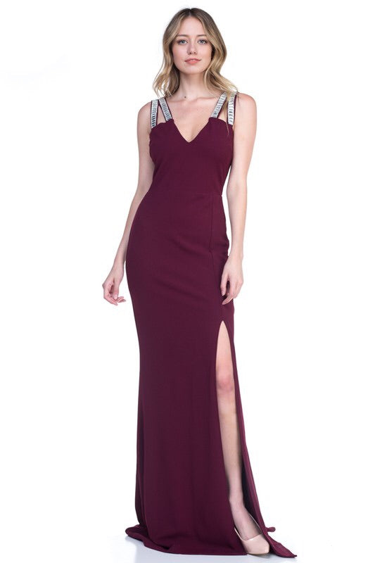Luna Merlot Maxi Gown - My Royal Closet