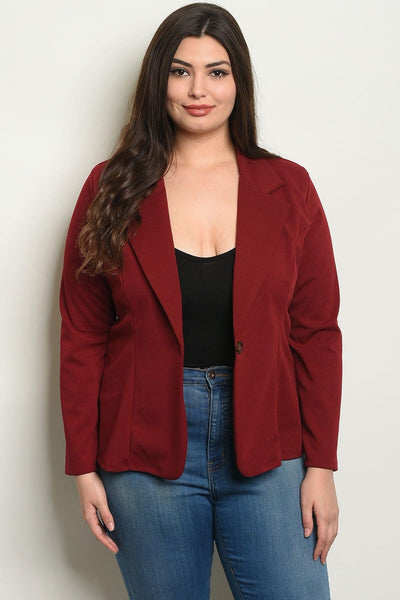 Royal Curves Burgundy Blazer - My Royal Closet