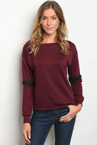 Burgundy Lace Knit Top