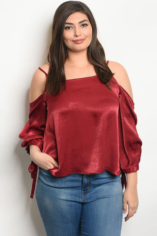 Royal Curves Amora Burgundy Blouse