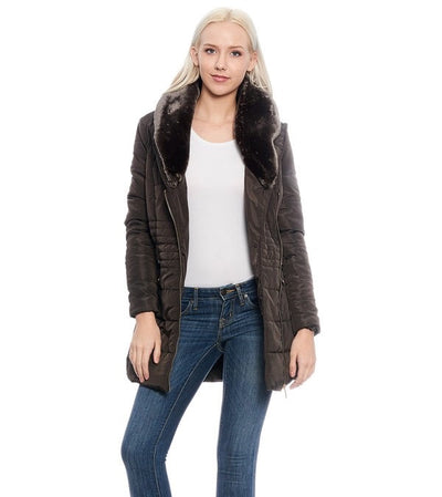 Mocha Fur Lined Coat - My Royal Closet