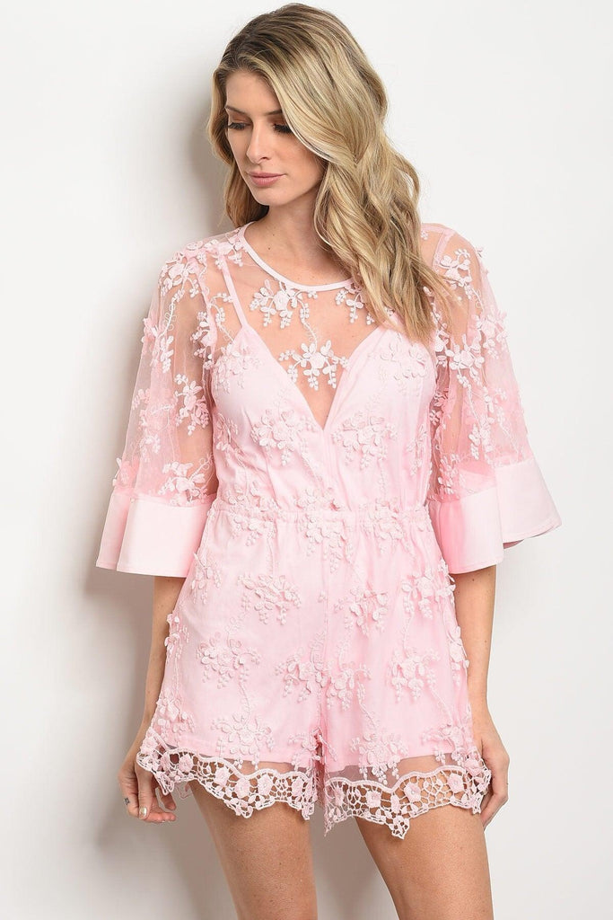 Willow Pink Lace Romper - My Royal Closet