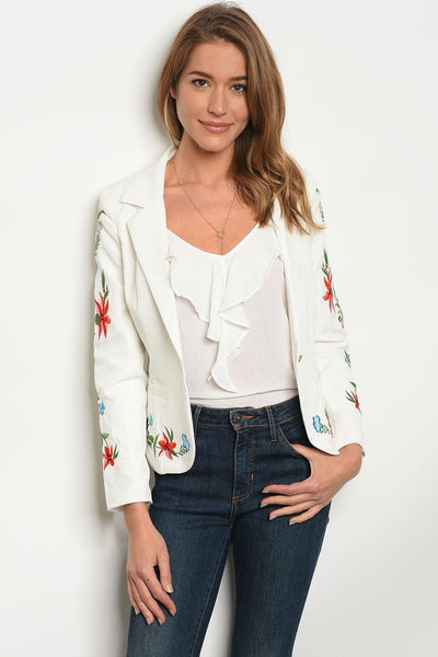 Floral Embroidered White Blazer - My Royal Closet
