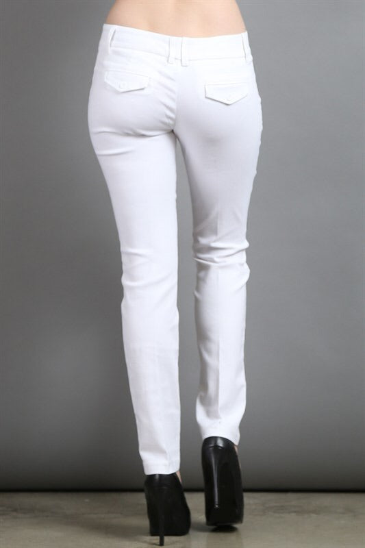 Slim Leg Off-White Pants - My Royal Closet