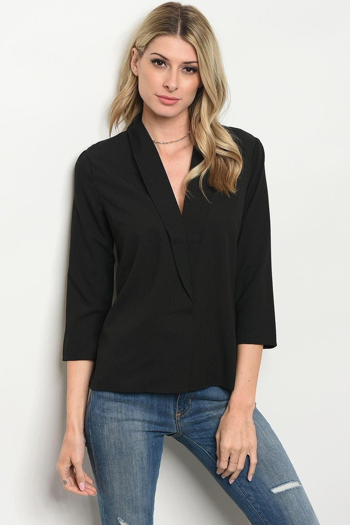 Fey Black Surplice Top - My Royal Closet