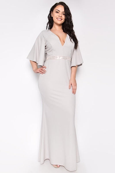 Royal Curves Heidi Silver Dress - My Royal Closet
