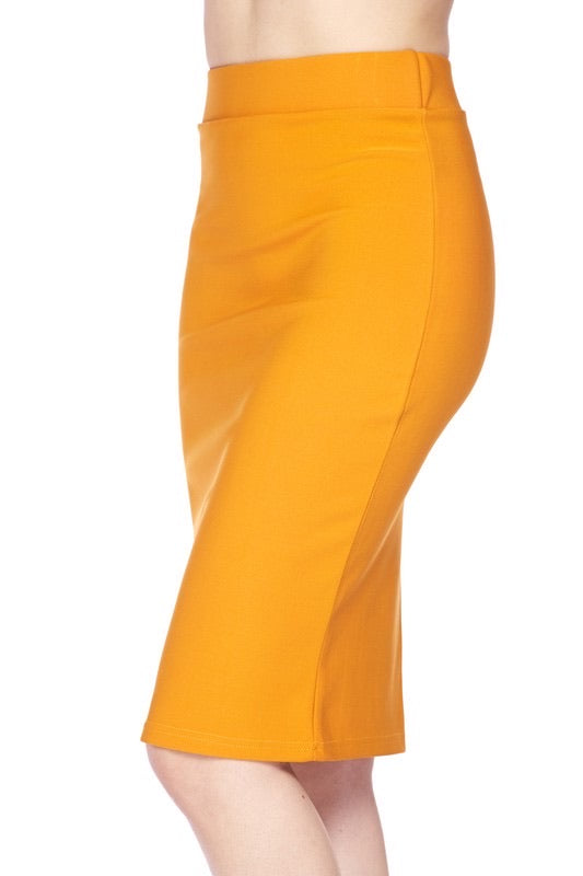 Mustard High Waist Midi - My Royal Closet