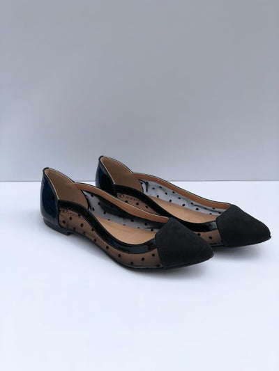 Black Mesh Neuaura Flats - My Royal Closet