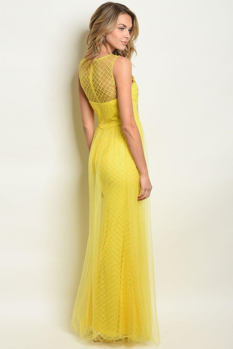 Reese Yellow Mesh Gown - My Royal Closet