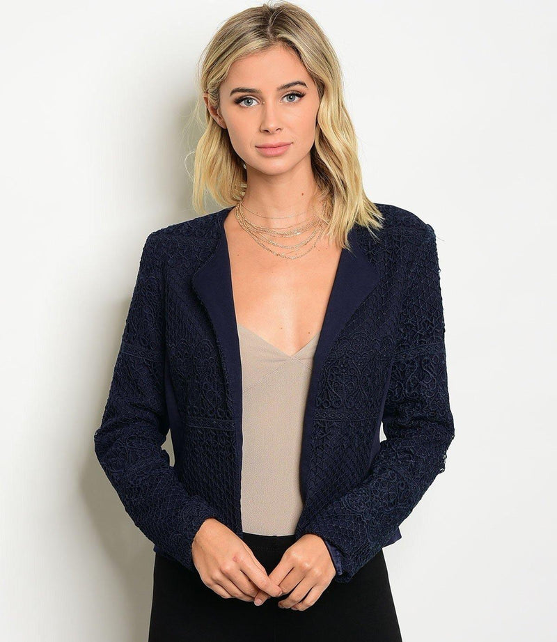 Navy Lace Embroidered Blazer - My Royal Closet