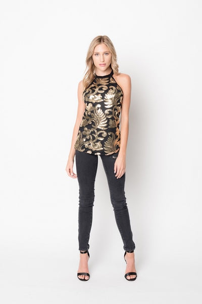 Dianella Damask Sequin Top - My Royal Closet
