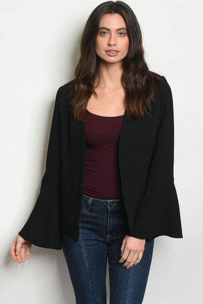 Black Bell Sleeves Blazer - My Royal Closet