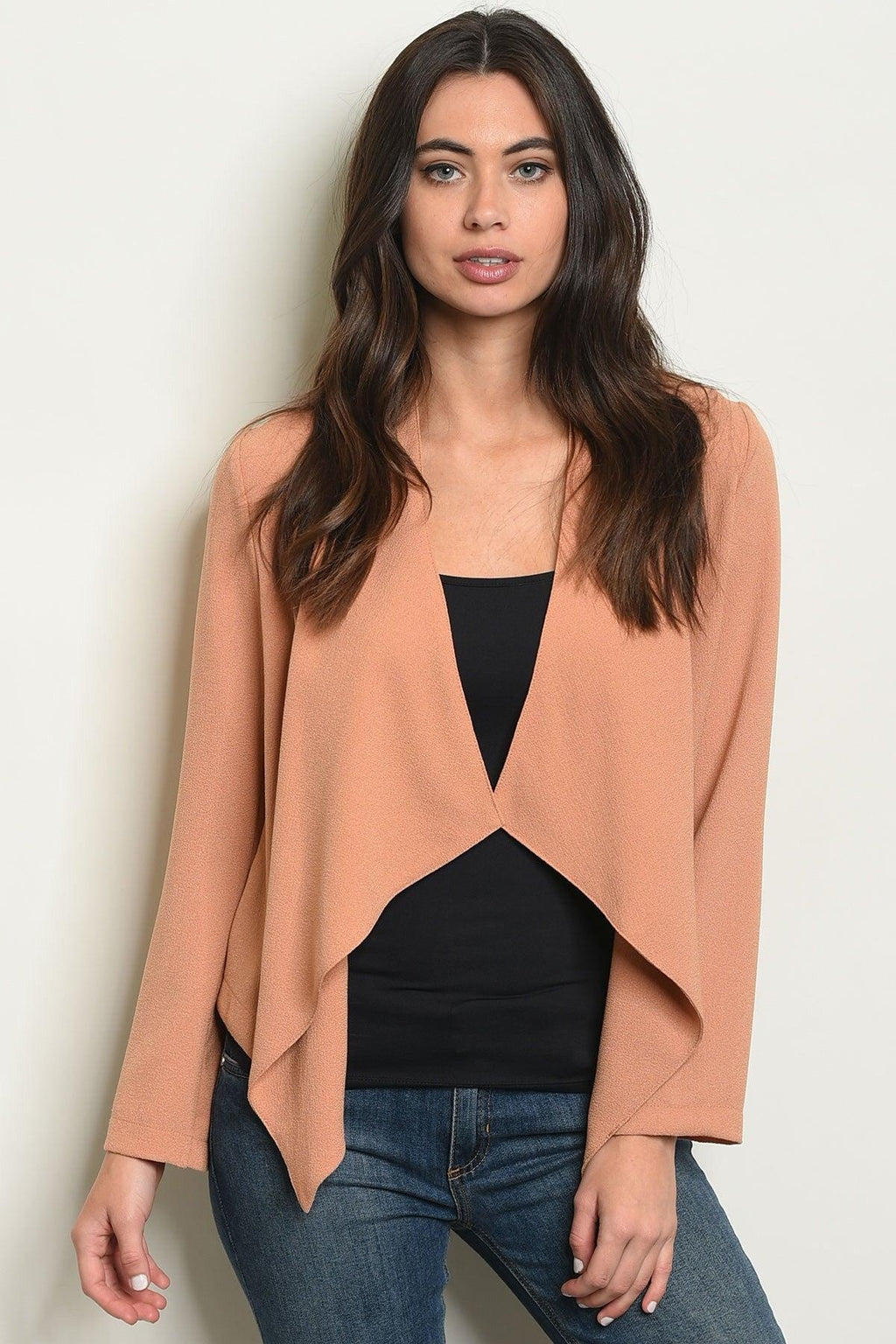 Camel Draped Blazer - My Royal Closet