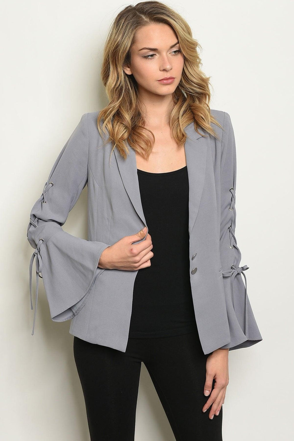 Gray Laced Blazer - My Royal Closet