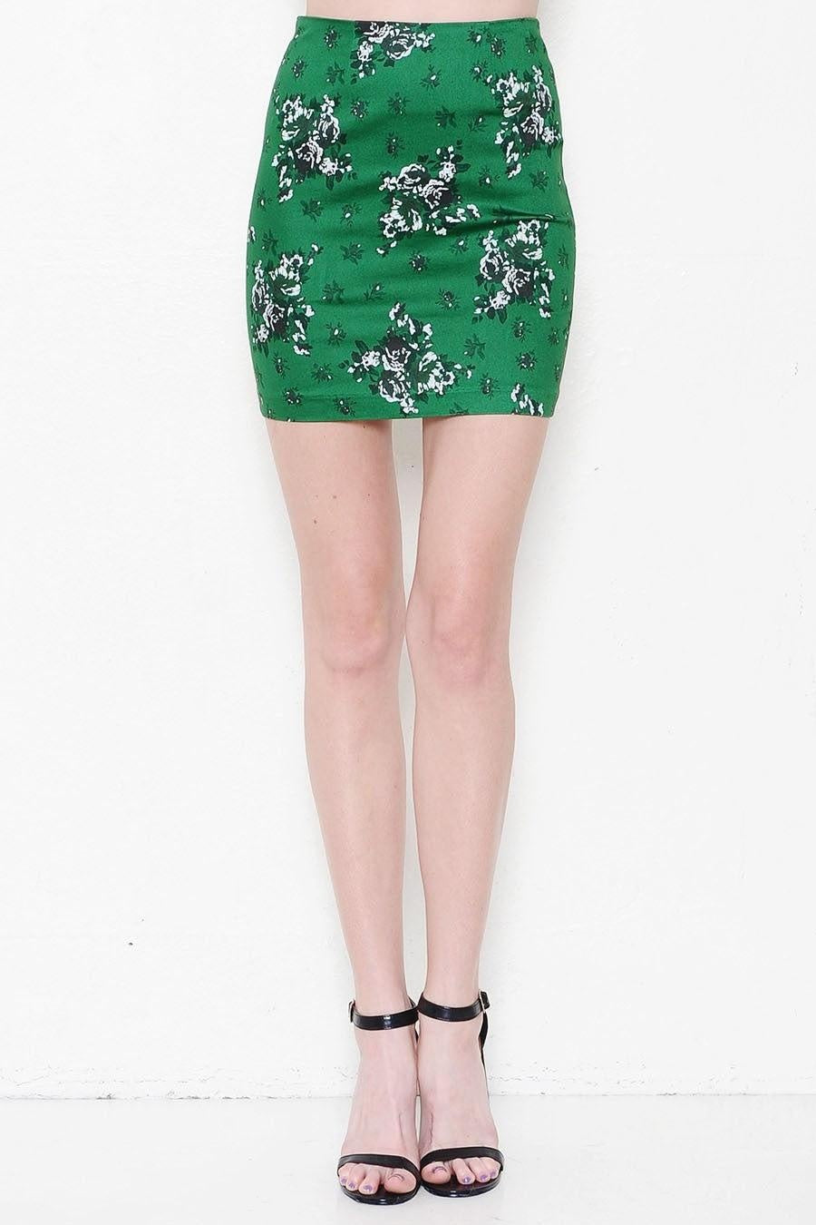 Emerald Floral Mini Skirt - My Royal Closet