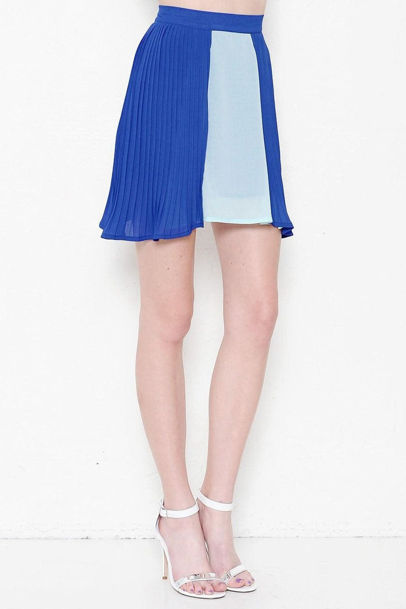 Aqua-Blue Pleasted Skirt - My Royal Closet