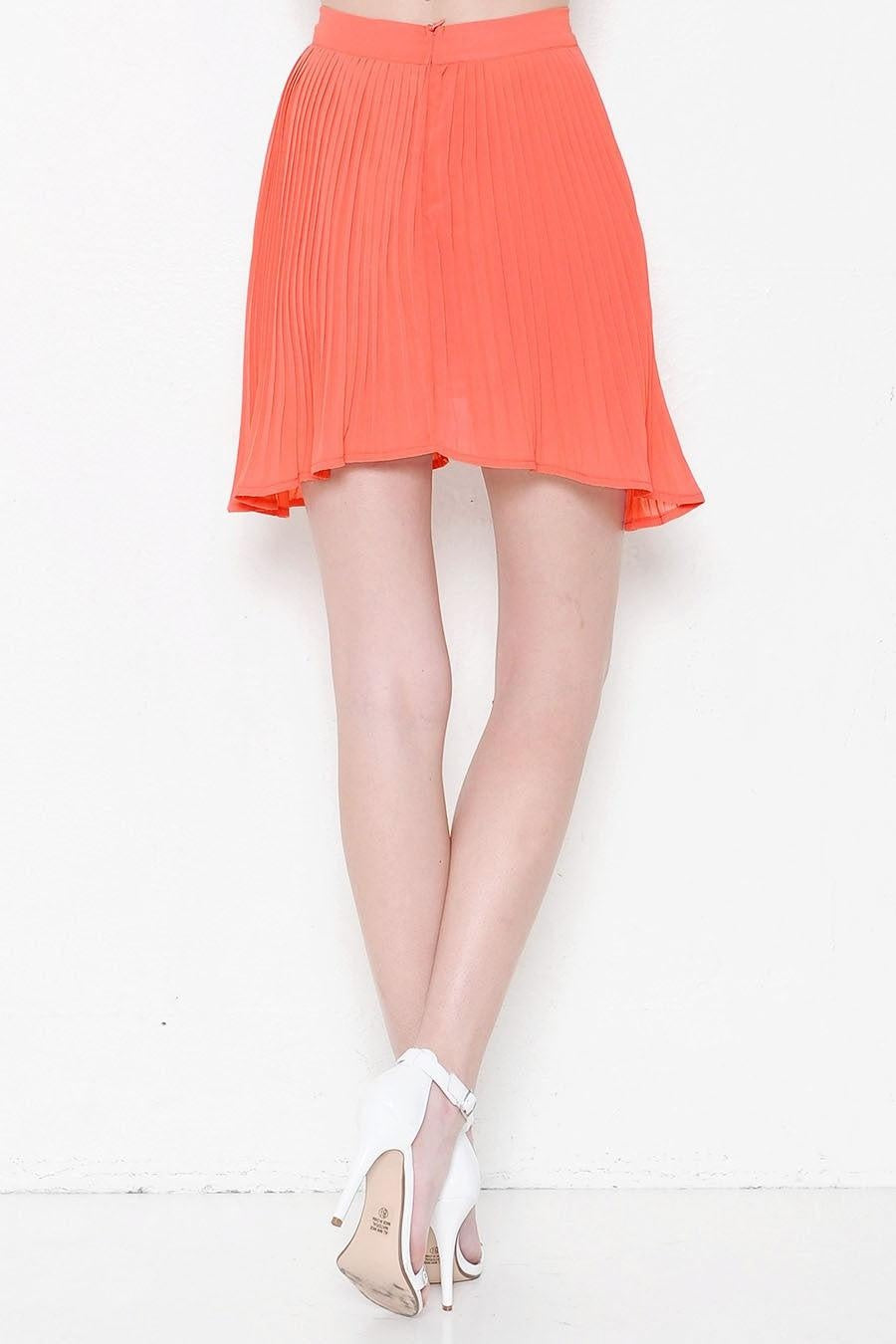 Coral Pleated Skirt - My Royal Closet
