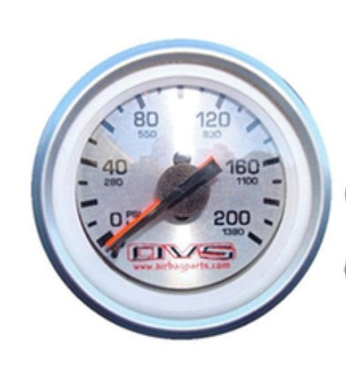 AVS 200psi DUAL Needle SILVER Faced Gauge