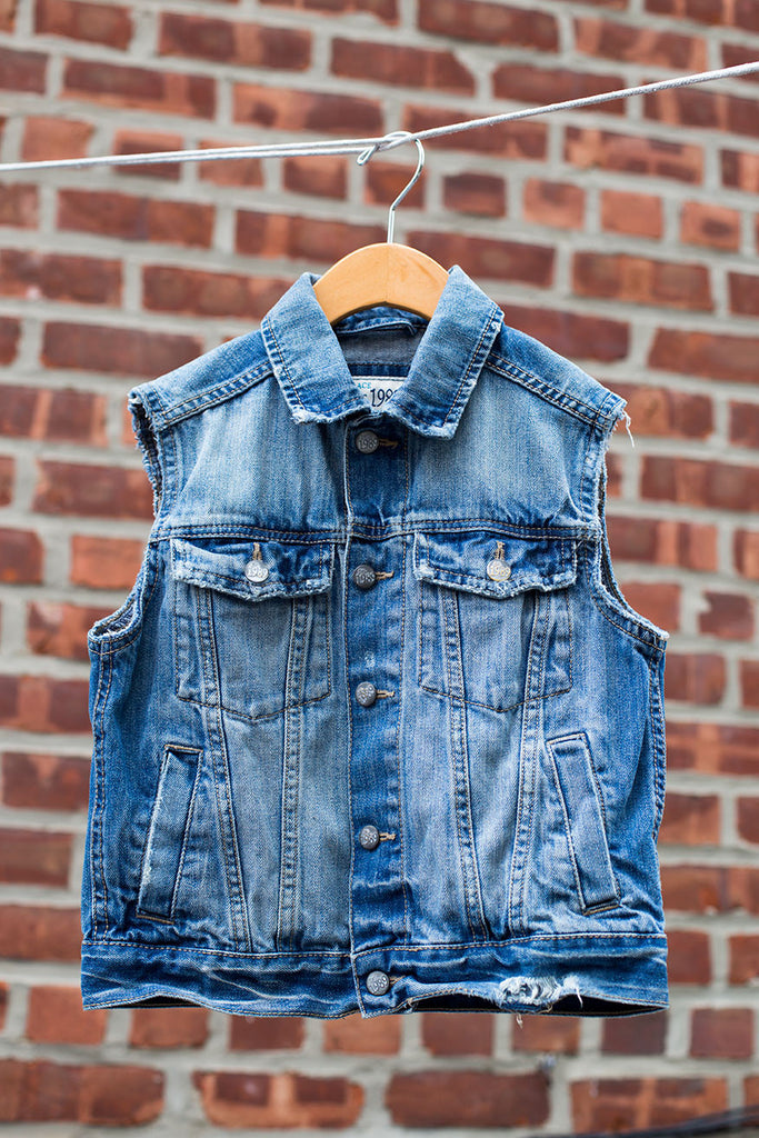 Custom Distressed Denim Vest-Unisex