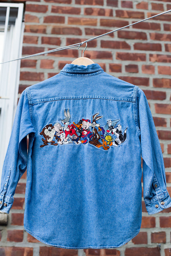 Vintage Looney Tunes Oversized Button Down Denim Shirt
