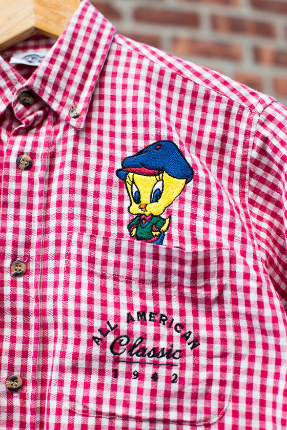 Vintage Looney Tunes Plaid Button Down Shirt