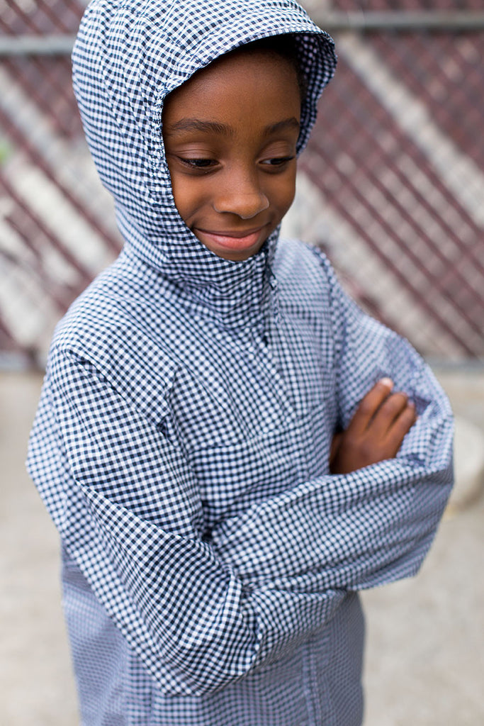 Plaid Windbreaker Jacket with Hood