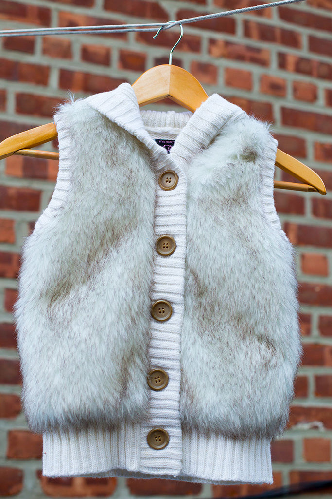 Faux Fur Sweater vest with Hood