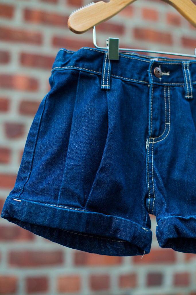 High Waist Pleated Denim Shorts