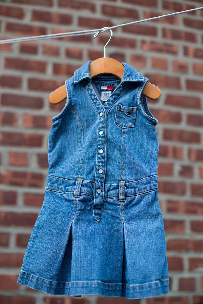 VINTAGE Denim Pleated Dress
