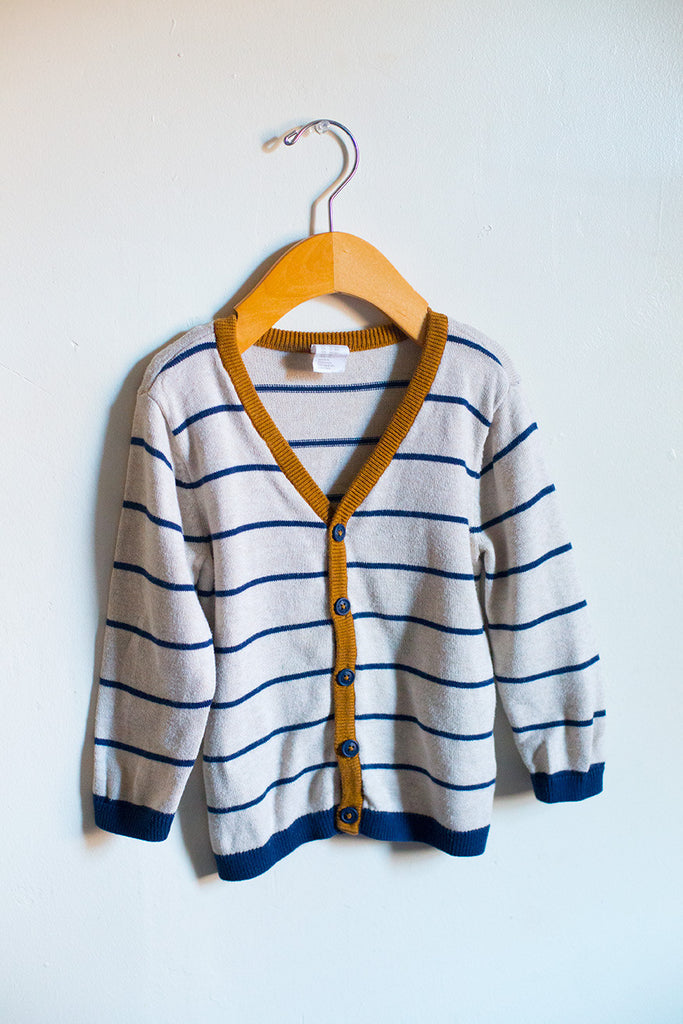 Striped Cardigan w/Elbow Patch
